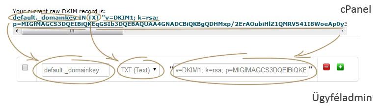DKIM rekord adatainak másolása