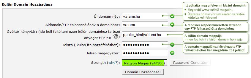 Külön domain felvétel