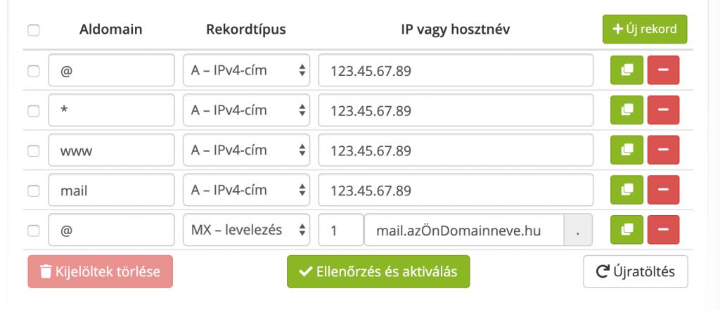Domain DNS rekord szerkesztés